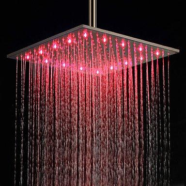 Miaoge Douchekop, 16 inch, LED, verschillende kleuren, met handdouche van roestvrij staal