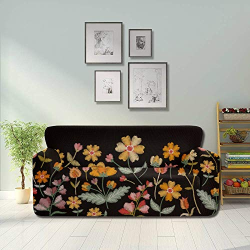 Generies Dark Black Background Magic Flowers Non Slip Sofa Cover Couch Non Slip Cover Fitted Furniture Protector 2&3 Seat Sofas