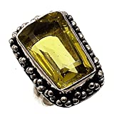 Yellow Citrine Gemstone 925 Silver Plated Jewelry Handmade Ethnic Jewelry Ring For Girls and Womens (Ring s/z (USA) - 6) (ZC-235)