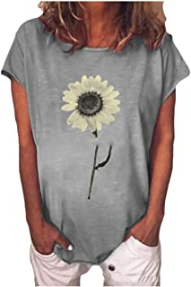 Doufine Womens Tunic Floral Casual T Shirts Plus Size Blouse Top