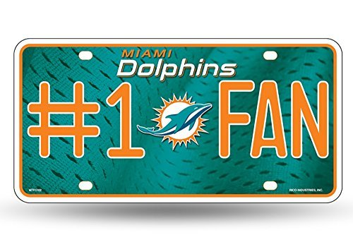 NFL Miami Dolphins #1 Fan Metal License Plate Tag