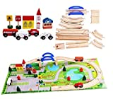 Lalia Bahnset Zug Schienenbahn aus Holz 40 Teile, Holzspielzeug für Kinder, bunt, Eisenbahn Schienen Zug Set. Tolles Geschenk für kleine Schaffner Holzeisenbahn mit Spielmatte