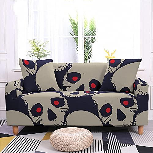 Funda Sofa 1 Plaza Cráneo Fundas para Sofa con Diseño Elegante Universal,Cubre Sofa Ajustables,Fundas Sofa Elasticas,Funda de Sofa Chaise Longue,Protector Cubierta para Sofá