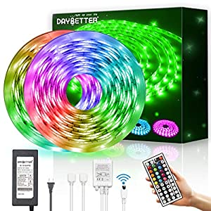 Daybetter Waterproof Led Strip Lights 32.8ft Flexible Color Change RGB with 44 Keys Remote Controller and 12volts Power Supply for Bedroom, Kitchen, Home Decoration