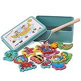 Nanxin Puzzle Pesca magneticos Juguetes de Pesca magnética de Madera, Juegos educativos de Aprendizaje temprano para niños de 2 años
