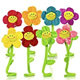 T Play Plush Flower Bendable Stems Colorful Stuffed Flowers Plush Toy Durable Plush Daisy Flower Bouquet with Happy Smiley Face Toy Flower Sunflower Plushie Gift for Kids Baby Girl Toddlers 13'
