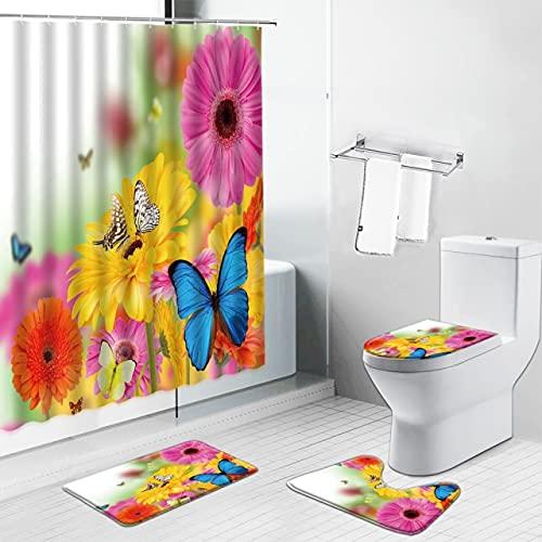 dodouna Blumen Schmetterling Frühling Landschaft Duschvorhang Teppich Toilettendeckel Abdeckung Badematte Zen Stein Blumen Badezimmer Vorhänge Teppich 180X180CM