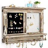 Organizador de joyería rústico de pared, organizador de joyas de madera, organizador de joyas de madera rústica con ganchos para pendientes, collares, barra extraíble para pulsera (gris)