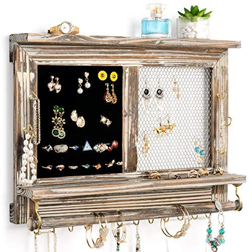 Rustic Jewelry Display Organizer Wall Mounted Mesh Jewelry Organizer, Wall Mounted Rustic Wood Jewelry Organizer Holder with Hooks Shelf for Earrings Necklaces Removable Rod for Bracelet(Grey)