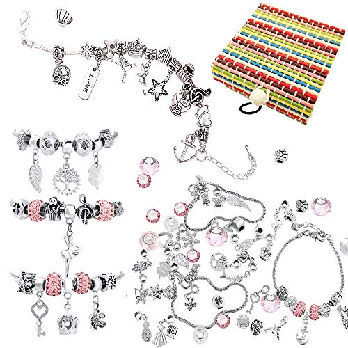 Ucradle Girls Charm Bracelet Making Set, Jewelry Making Kit DIY Bead Snake Chain Jewelry Bracelet with 10 Beads for jewellery making 3 Plated Silver Chains 35 pendants, Nice Gifts For Kids