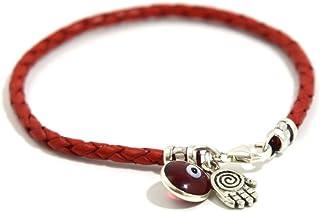 comprar comparacion Pulsera de cuero trenzado de color rojo, con abalorios de mano de Fátima y mal de ojo, de plata de ley,20&nbs...