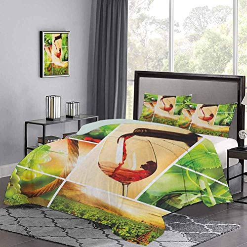 Bedding Cover Wine Tasting and Grapevine Collage Green Fresh Field Pouring Drink Delicious Light-Weight Duvet Cover Set with Hidden Zipper Green Ruby Caramel
