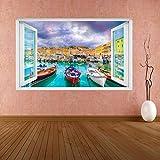 Pegatinas dePared Peces Mar Acuario 3D Smashed Wall Art Stickers Niños Dormitorio Vivero