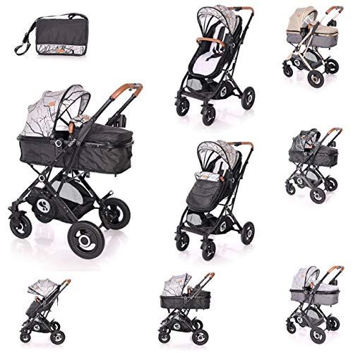 Lorelli cochecito Sena 2 en 1 asiento deportivo neumáticos goma para bebé, bolsa, colores:negro/gris