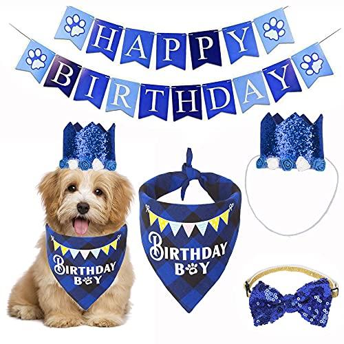 ADOGGYGO Dog Birthday Party Supplies, Dog Puppy Birthday Bandana Scarf Dog Birthday Hat Bowtie Happy Birthday Banner Set