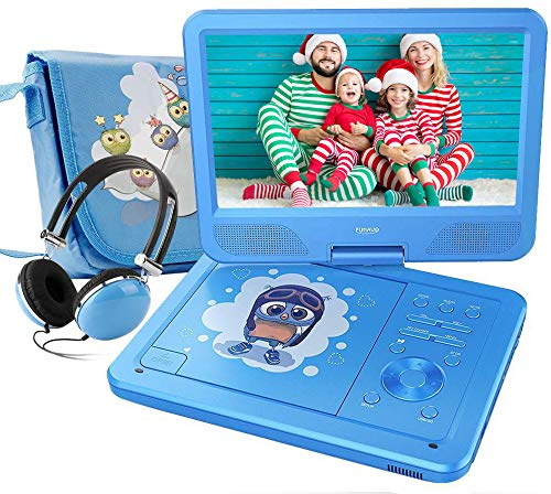 "FUNAVO 10.5"" Portable DVD Player with Headphone, Carring Case, Swivel Screen, 5 Hours Rechargeable Battery, SD Card Slot and USB Port (Blue)"