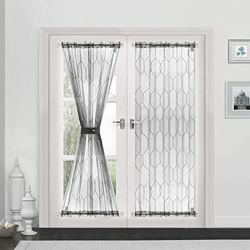"jinchan Sheer French Door Curtains Moroccan Tile Embroidered Sheer French Door Curtain 1 Panel 72"" L, Grey"