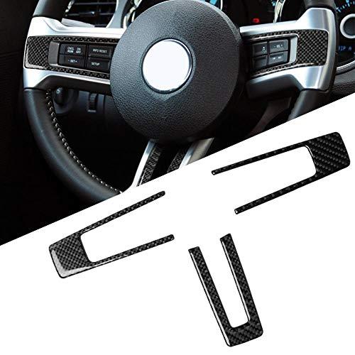 SPLLEADER 3Pcs Carbon-Faser-Auto-Innenraum Lenkrad Knopf Feld-Aufkleber Autoinnendekoration for Ford Mustang 2009-2013 neu Voiture interieur