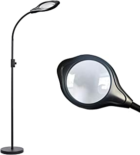 Lelife Floor Lamp Magnifier Lamp with 2X Magnifying Glass Lens,Dimmable,3 LED Color for Choice, 8W 1000 Lumens Floor Light with Smart Mechanical Switch