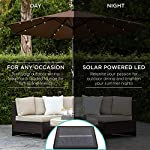 Best Choice Products 10ft Solar LED Lighted Patio Umbrella w/Tilt Adjustment, Fade-Resistant Fabric - Black 10 24 SOLAR-POWERED LIGHTS: Use it day or night, with 24 built-in solar powered LED lights that can run for 6-7 hours HIGH-DURABILITY FABRIC: Made with high-quality water-, UV-, and fade-resistant fabric to last for years of enjoyment ADJUST YOUR SHADE: Stay cool at all times, as the easy push-button tilt system gives coverage no matter what time of day, while a wind vent cools air under the umbrella