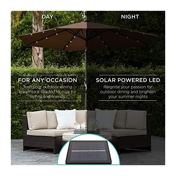Best Choice Products 10ft Solar LED Lighted Patio Umbrella w/Tilt Adjustment, Fade-Resistant Fabric - Black 3 24 SOLAR-POWERED LIGHTS: Use it day or night, with 24 built-in solar powered LED lights that can run for 6-7 hours HIGH-DURABILITY FABRIC: Made with high-quality water-, UV-, and fade-resistant fabric to last for years of enjoyment ADJUST YOUR SHADE: Stay cool at all times, as the easy push-button tilt system gives coverage no matter what time of day, while a wind vent cools air under the umbrella
