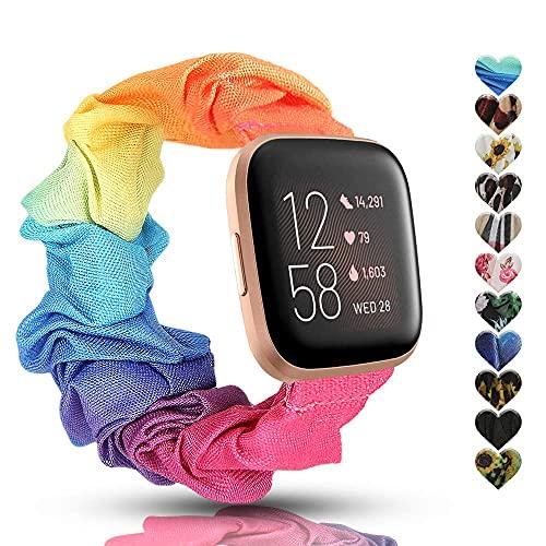 Mantimes Correa elástica para reloj compatible con Versa 2/Versa Lite/SE, correa de repuesto de tela suave, diseño floral, accesorio de pulseras deportivas para mujer (Rainbowl)