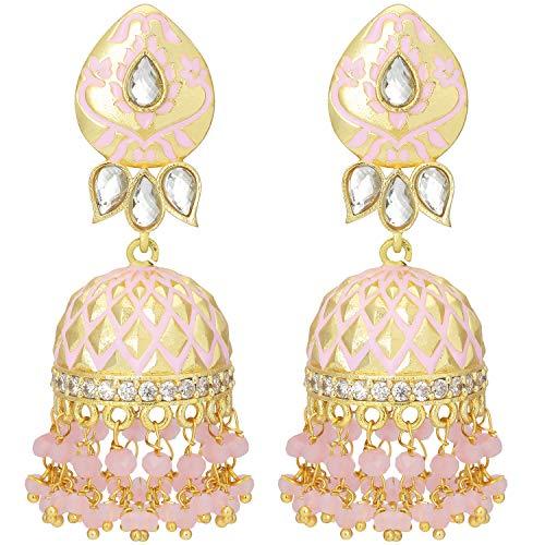 Aheli Elegant Gold Tone Traditional Wedding Wear Floral Enamel Jhumka Jhumki Earrings with Beaded Tassel Ethnic Indian Fashion Jewelry for Women Girls