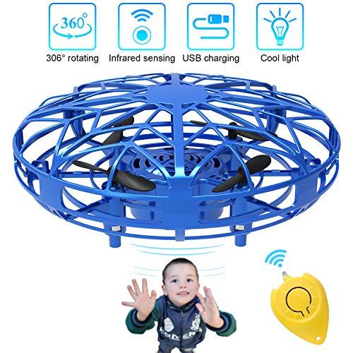 Mini Drones per Bambini e Adulti, Flying Ball Toy Controllato a Mano con Luce a LED e Rotazione di 360°, Regali per Ragazzi e Ragazze (Blu)
