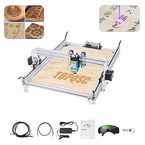 TOPQSC 10000MW Máquina de Grabado Láser CNC, Impresora de Escritorio DIY Impresora de Marcado de Imagen de Logotipo, Máquina de Corte de Grabado de Madera USB de 12 V, Area de Grabado: 30x40 cm