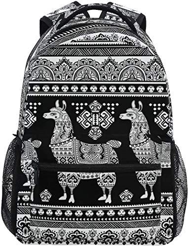 Nigel Tomm Cute Alpaca Llama Ethnic Boho Bohemian Large Mochila Personalizada iPad Tablet Travel School Bag