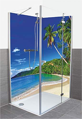 Artland Duschrückwand Eck mit Motiv Fliesenersatz Alu Rückwand Dusche Duschwand Bad 2 Segmente Wunschmaß Karibik Malediven Strand Palmen Meer S9HV