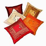 Rastogi Handicrafts Silk Zari - Juego de funda de cojín (5 piezas, seda bordada a mano), multicolor