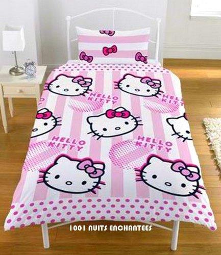 Funda Nordica Juego Hello Kitty Candy Stripe Cama 90 Edredon Sabanas Ropa Decor