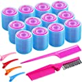SIQUK 50 Pcs Self Grip Hair Rollers and Clips Set Including 36 Pcs Hair Rollers 12 Pcs Colorful Plastic Alligator Clips a Foldable Pocket Comb and a Tail Comb for Women and Girls(3 Colors, 3 Sizes)