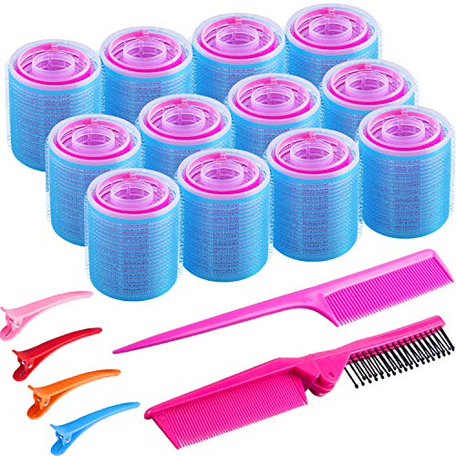 SIQUK 42 Pcs Self Grip Hair Rollers and Clips Set Including 36 Pcs Hair Rollers 4 Pcs Colorful Plastic Alligator Clips a Foldable Pocket Comb and a Tail Comb for Women and Girls(3 Colors, 3 Sizes)