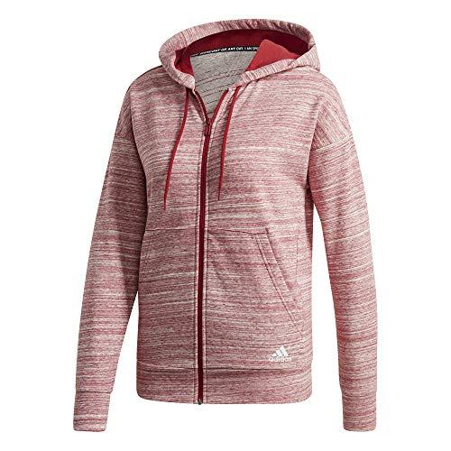 adidas Damen Sweatshirt W MH HTH FZ HD, active maroon/off white/white, L, EB3836