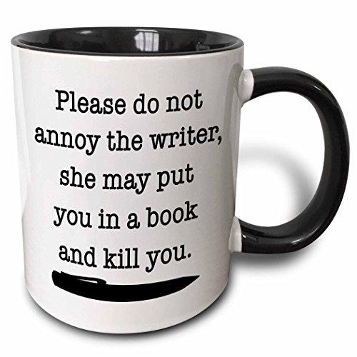 3dRose Please Do Not Annoy The Writer Black Mug