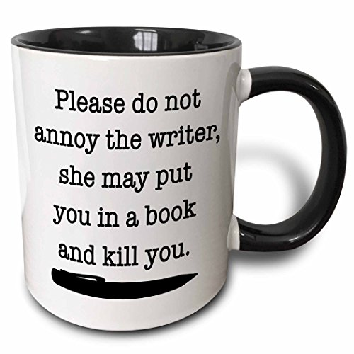 3dRose Please Do Not Annoy The Writer Black Mug, 11 oz