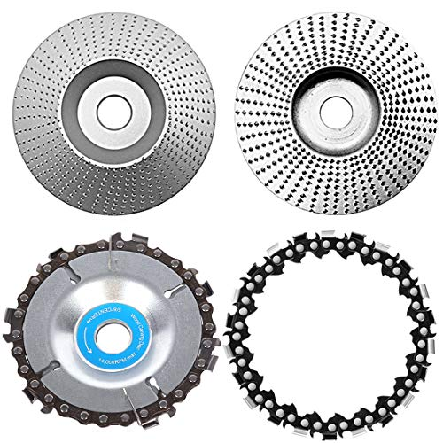 Angle Grinder Disc Wood Carving Abrasive Disc Tungsten Grinding Wheel 12 Teeth Replacement Chain Wood Cut Wheel for Woodworking Sanding Carving Shaping Polishing Wheel Plate