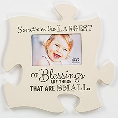Sometimes the Largest Blessings are Small 12 x 12 Wall Hanging Wood Puzzle Piece Photo Frame