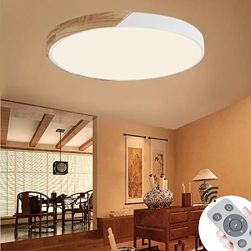 BFYLIN 60W LED Deckenleuchte Runde Holz Deckenlampe Ultra-dünne 6cm für Schlafzimmer Wohnzimmer Kinderzimmer, Dimmbar Lampe (Eiche-Weiß-60W Runde)
