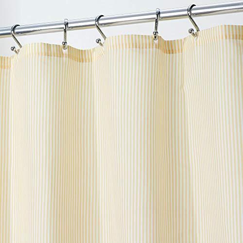 mDesign Duschvorhang aus Stoff – elegante Duschgardine mit 183 cm x 183 cm für Dusche & Badewanne – klassisches Badzubehör mit verstärkten Löchern – hellgelb