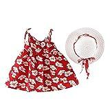 YGbuy Estampado de Cereza Ropa Bebe Niña,Casual Lindo Vestido de Niña Imprimiendo Arco Sin Mangas Ropa Bebé Recién Nacido Verano Vestidos de Princesa Niña Playa + Sombrero