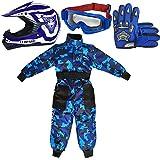 Leopard LEO-X17 Azul Casco de Motocross para Niños (L 53-54cm) + Gafas + Guantes (L 7cm) + Camo Traje de Motocross para Niños - S (5-6 Años)