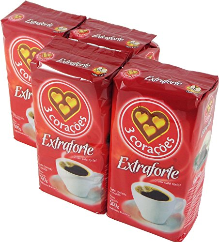 3 Coracoes Extra Forte Brazilian Ground Coffee Vacuum Packed 500 grams (Pack of 4)