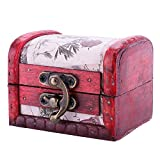 Ownsig Vintage Handmade Treasure Small Wooden Jewelry Box Ring Necklace Earrings Storage Organizer Case