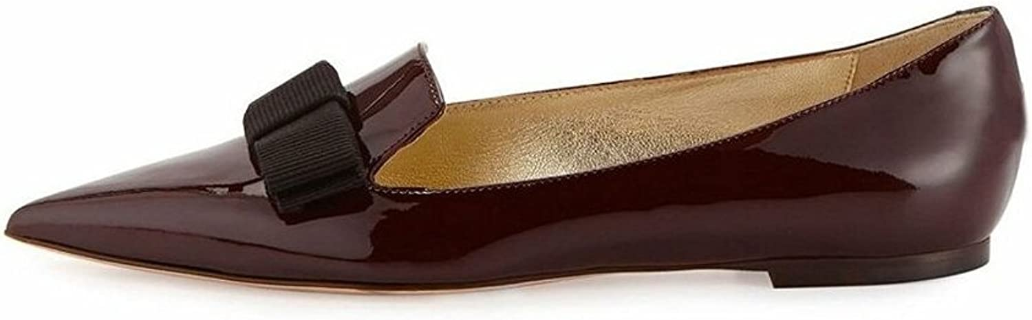 Eldof Women's Galala Patent-Leather Point-Toe Flats Office Off-Duty Flats shoes Grosgrain Bow shoes