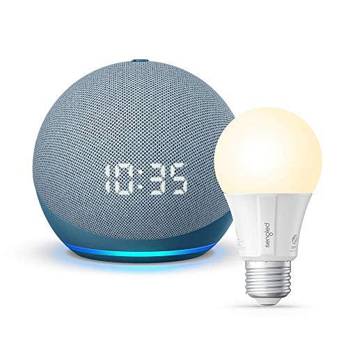 Nuevo Echo Dot (4ta Gen) con reloj - Crepúsculo Azul - Paquete con Sengled Bluetooth bulb (Producto Certificado para Humanos)