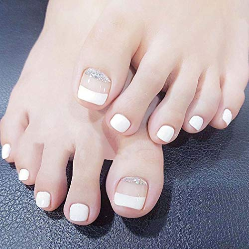 Jeairts French Toenails Short Square Press on Nails White Fake Nails for Toe Sequins False Feet Nails for Women and Girls(24 Pcs)
