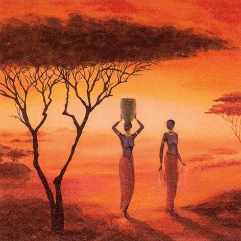 20 Servietten, Afrika, Wasserträgerin Romantik